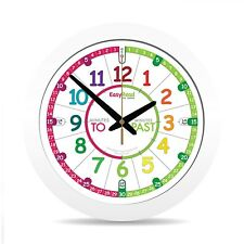 NEW EasyRead Time Teacher Children's Clock 29cm Tell Time 3 Easy Steps Aged 5-12