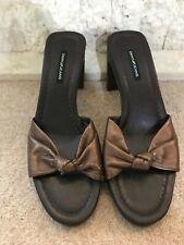 DKNY Ladies Bronze Leather Sculpted Heel Mules Sandals US 8.5 UK 6.5