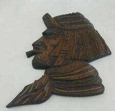 Vintage Wood Carved Man Head Art Decorative Wall Argentina Figure Statue 12 Inch