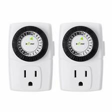 Bn-Link Indoor 24-Hour Mechanical Outlet Timer Daily use, 2 Pack, 2 or 3 Prong