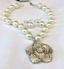 Crystal Rhinestone Gold Pearl Necklace,  Earring Set