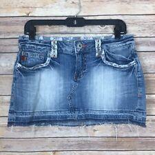 Miss Me Womens M Denim Mini Skirt 5 Pocket Lace Released Hem Reno Light Wash