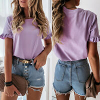 Women Sweet T-shirt Round Neck Flare Sleeve Plain Cotton Simple Blouse Tops