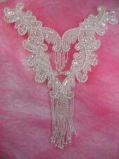 "0510 Crystal Bodice Yoke Sequin Beaded Applique Patch Bridal Motif 10"""