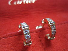 CARTIER EARRINGS DIAMONDS HOOPS 3 TONE GOLD YLOW WHITE ROSE 18K PIERCED Trinity