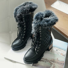 Womens Ankle Boot Winter Low Heel Winter Snow Fur Top Lace Up Shoes All Uk Sz