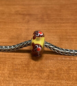 Authentic Trollbeads Brown Bear On Yellow Base Unique Ooak Bead HTF New!!