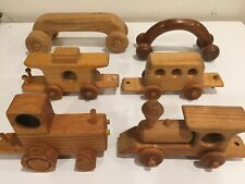 LOT OF 7 WOODEN HANDCRAFTED VEHICLE TOYS Creative Playthings Cars Train Tractor
