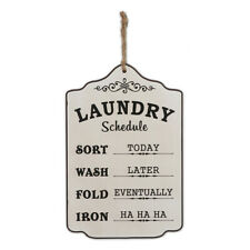 Country Wooden Farmhouse Sign LAUNDRY SCHEDULE Large Plaque New