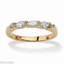 18K GOLD APRIL  BIRTHSTONE CRYSTAL CZ  MARQUISE CUT GP RING SIZE 5,6,7,8,9,10