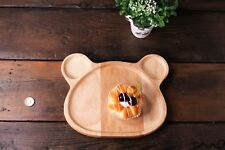 Natural Wooden Bear Plate Serving Tray Tea Food Server Dishes Handmade Gift