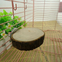 Wooden Round Coin Pets Parrot Bird Cage Perches Stand Platform Budgie Hang Toys