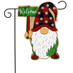 "Holiday Gnome Burlap Garden Flag Christmas Welcome 12.5"" x 18"" Briarwood Lane"