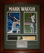 Mark Waugh framed and signed mini cricket bat