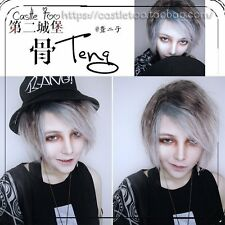 Men Cosplay Lolita Harajuku Short Wig Gray Mixed Silver Gothic Gradient Daily