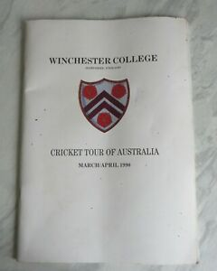 Winchester College Cricket Tour of Australia 1990 magazine - good condition