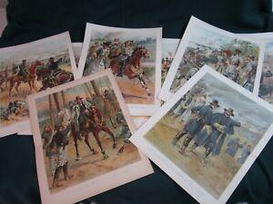 """8 Vtg H A Ogden CIVIL WAR GENERALS Book Plates--1897 Chromolithographs--10""""X13"""""""