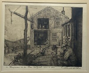 Lionel S Reiss (1894-1988 ) Etching Pencil Signed- 1940's Dockworkers