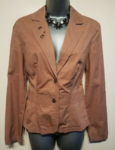 Size 8 Jacket Brown Embroidered Fitted Excellent Condition Women's Casual