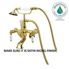 Elizabethan Classics 3-Handle Claw Foot Tub Faucet with Adjustable Centers Satin