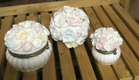 2 Vintage Hinged Ribbed Porcelain Vanity Trinket Box Jar Pastel Flower Petals
