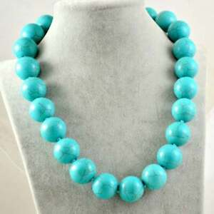 """Beauty Turquoise Large Round Beads 18"""" 16mm Choker Necklace 18K White Gold Over"""