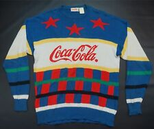 Rare Vintage COCA COLA Color Block Spell Out Star Logos Sweater 70s 80s 90s Coke