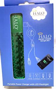 Halo Pocket Power 2800mAh Power Bank w/Micro USB, Mini USB 30-Pin Green New Open