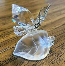 New ListingSwarovski Crystal Clear Butterfly on Frosted Leaf, w/Blue Iridescent Eyes, Logo