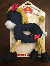 New Schoolhouse Plush Blue Horse Rope Tug Snuggle Fetch Squeaky Squeaker Dog Toy