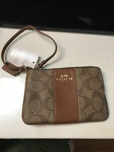 Auth coach Leather wristlet wallet Bag  Logo New