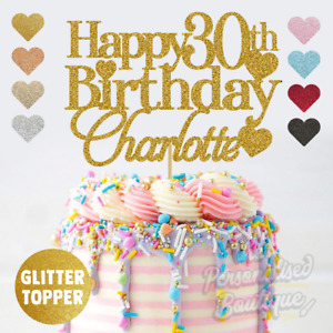 Personalised Custom Glitter Cake Topper Happy 30 40 50 60 Birthday Cake Topper