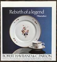 1984 Robert Haviland & C Parlon Print Ad Re-Birth of a Legend Winterthur Limoges