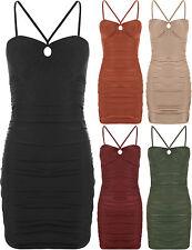 Women's Strappy, Spaghetti Strap No Pattern Stretch, Bodycon Dresses
