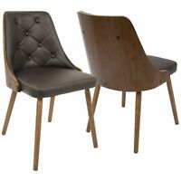 OPEN BOX Gianna Mid-Century Modern Dining/Accent Chair in Walnut with Brown F...
