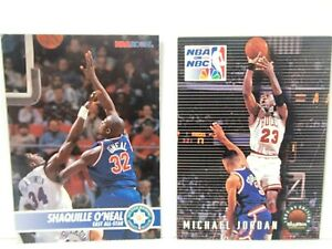 NBA Basketball Cards 1993-94 SkyBox Official Shaquille ONeal and Michael Jordan