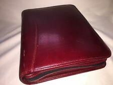 Franklin Covey Red Leather Zip Around 7 Ring Planner Binder