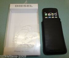DIESEL PREMIUM Black Leather Slip Case Pouch For Apple iPhone 4 4S 3GS 3G NIB