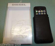 DIESEL PREMIUM Black Leather Slip Case Pouch For Apple iPhone 4 4S 3GS 3G NIB