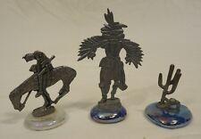 Desert Theme Figurines Kokopelli Cowboy Cactus Qty 23 Metal Glass