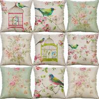 """18"""" Bird Oil painting Cushion Cover Cotton Linen Pillow Case Sofa Home Decor"""