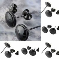 Mens Womens Fashion Black Round Jewelry Earrings Ear Studs Pop Stainless Steel