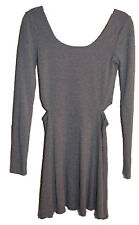 Garage Womens Juniors Dress Side Cut Out Fit Flare Gray Long Sleeve Size XS