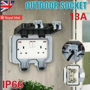 1 x 13A  2 Gang Waterproof Outdoor Storm Switched Socket Double IP66 Outside Use