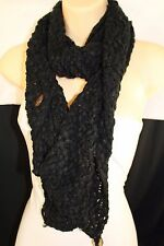 New Women Scarf Fashion Soft Fabric Winter Black Wide Shawl 3 Brown Wood Buttons