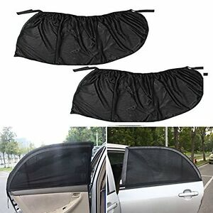 2Pcs L Car Side Rear Window Sun Visor Shade Mesh Cover Sunshade Protector Black
