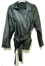 Real LAMBSKIN leather  belted zipped jacket
