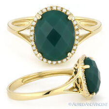 2.51 ct Checkerboard Oval Green Agate Diamond Halo Cocktail Ring 14k Yellow Gold