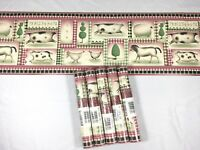 Wallpaper Border Red Country Cow Pig Chicken Farm Faux Vintage Crackled Lot of 5