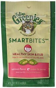 Greenies Feline SMARTBITES - Skin & Fur Salmon, 2.1oz - Six (6) Packages